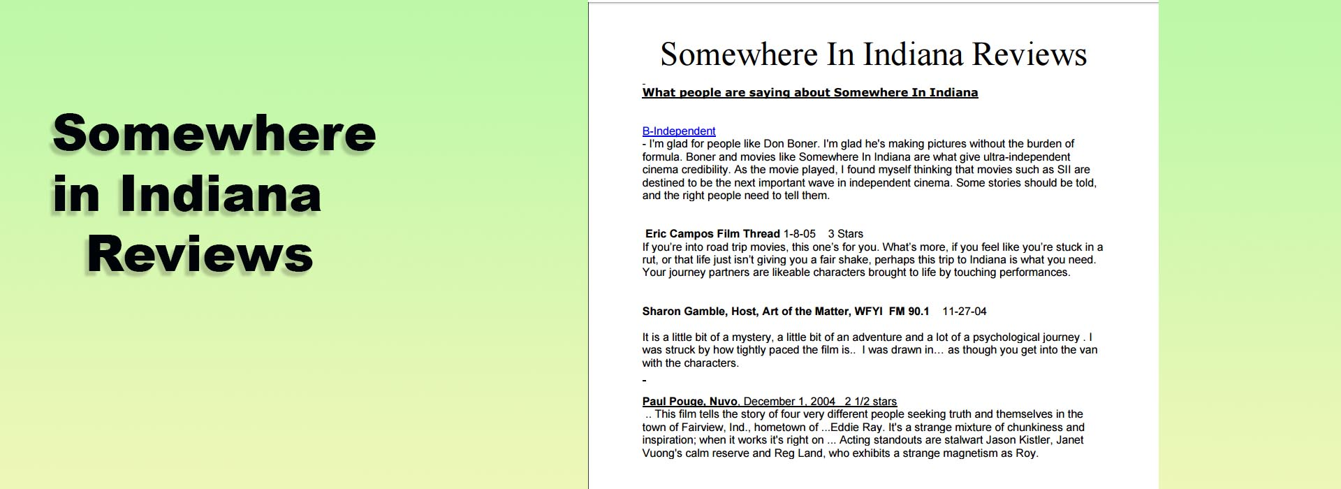 Somewhere in Indiana Reviews